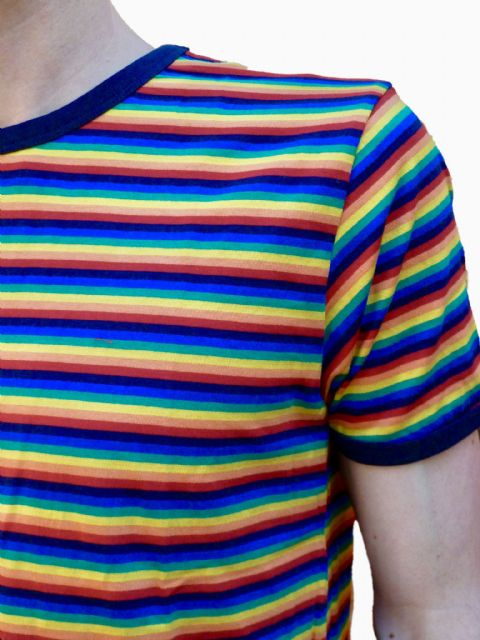 Rainbow Tee - Mens 70's Retro T-Shirt - Full Rainbow